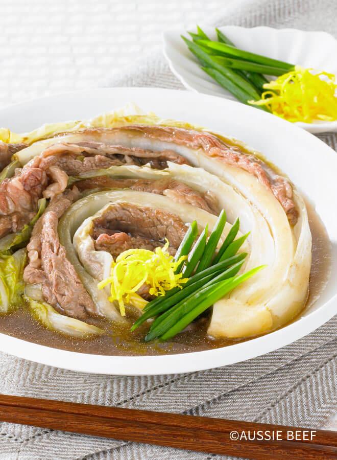 牛肉と白菜の重ねあんかけ