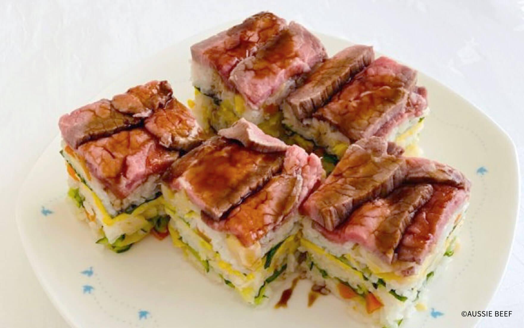 ローストビーフの押し寿司