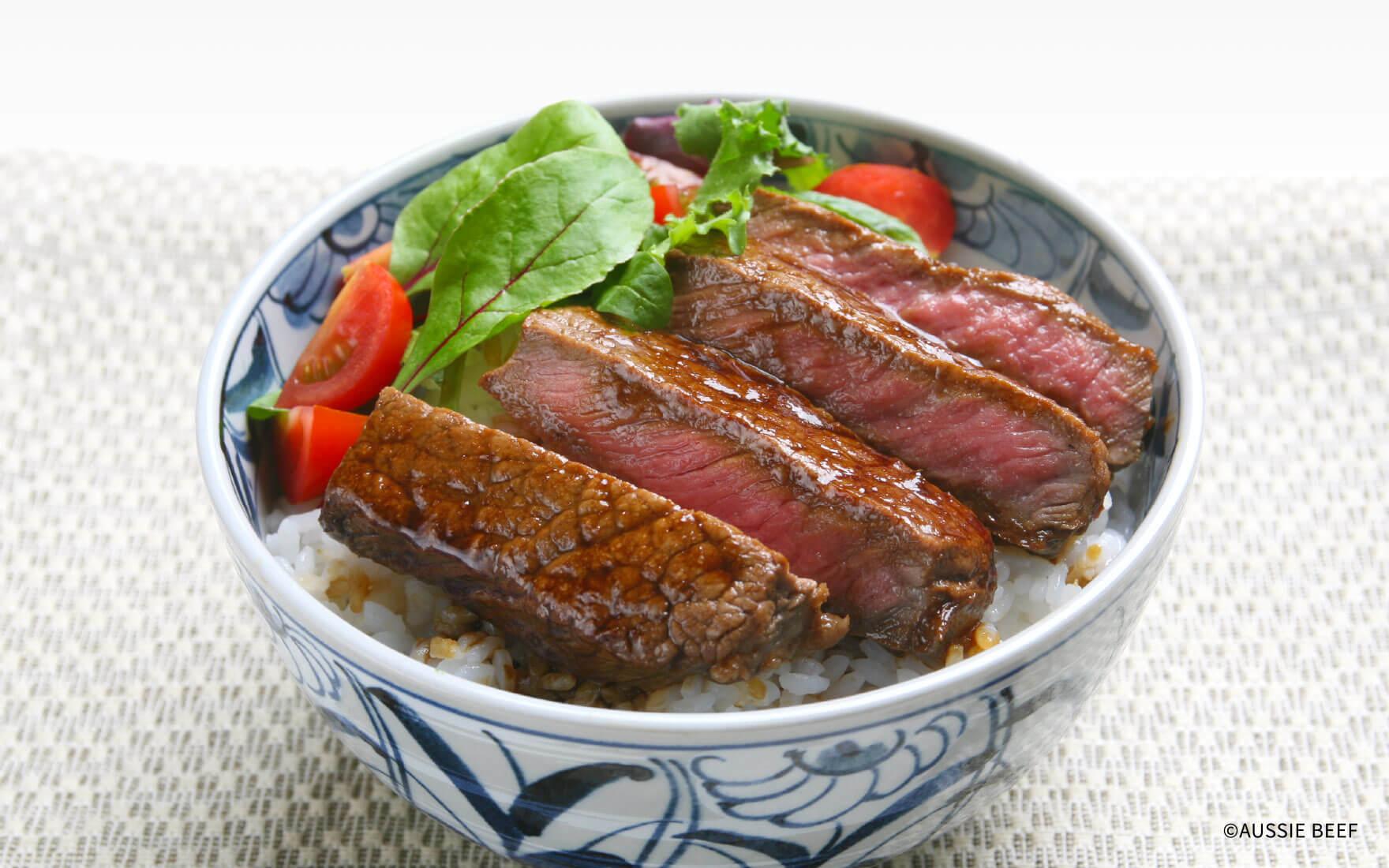 牛肉の黒酢ステーキ丼