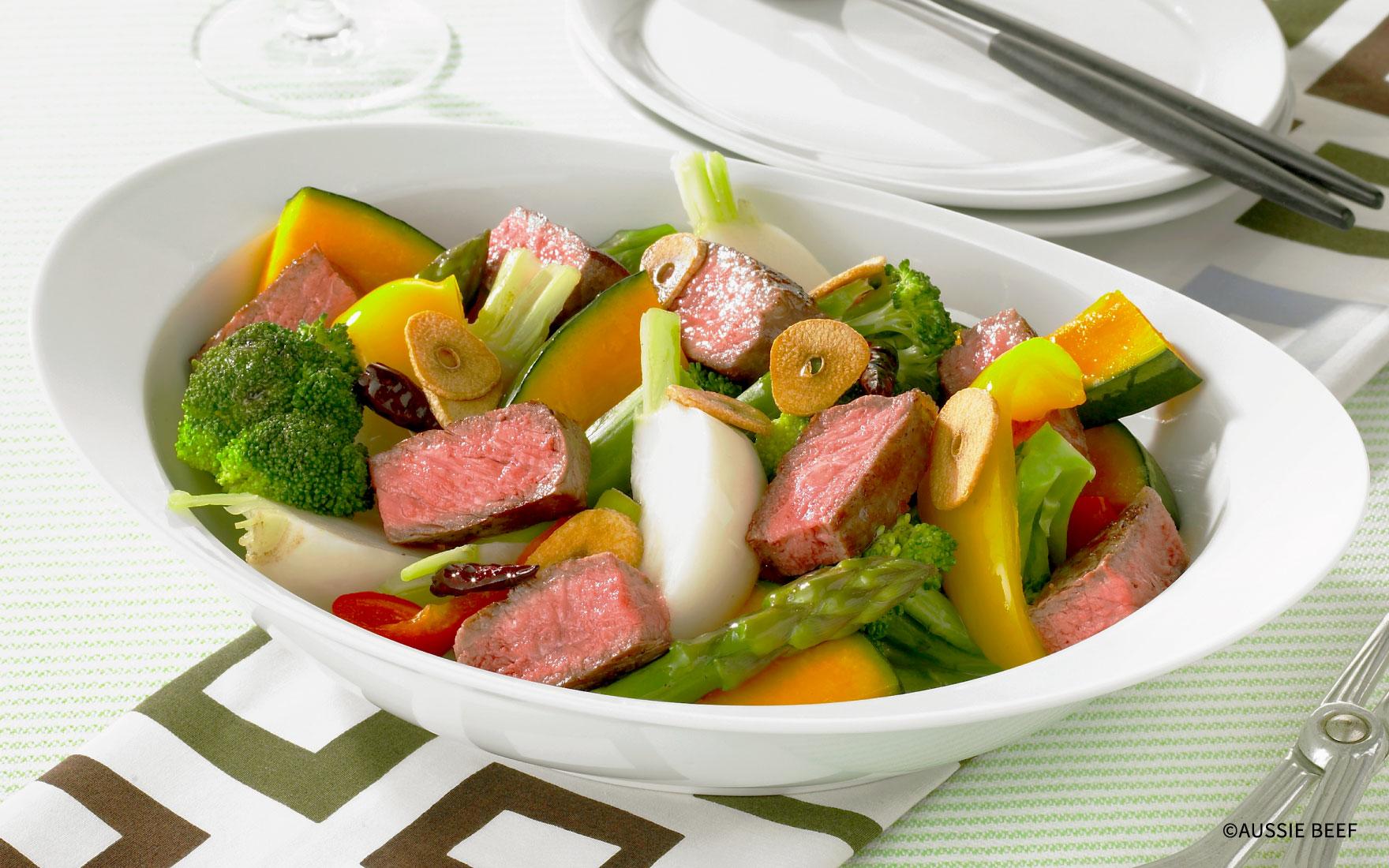 牛肉と温野菜のヘルシーサラダ