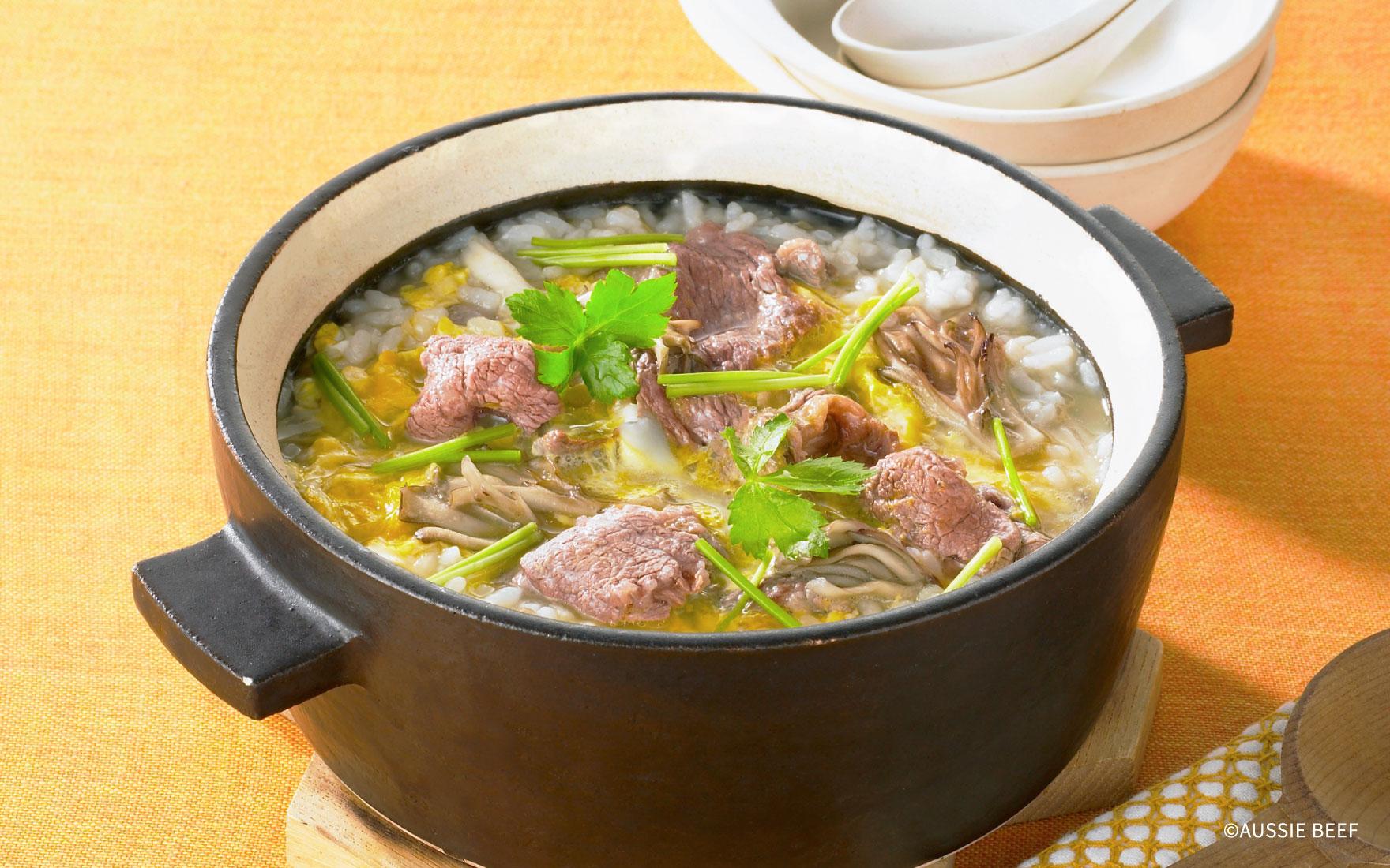 牛肉と舞茸のたまご雑炊