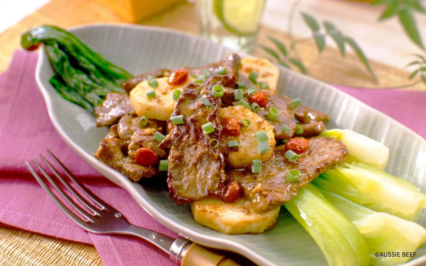 牛肉と長いものナムプラー炒め