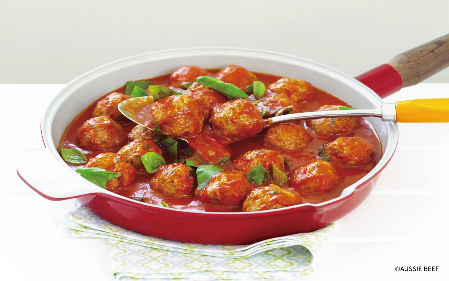 トマトソースのミートボール