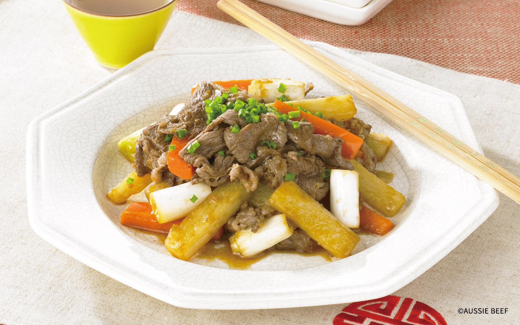 牛肉と山芋と人参の黒酢炒め