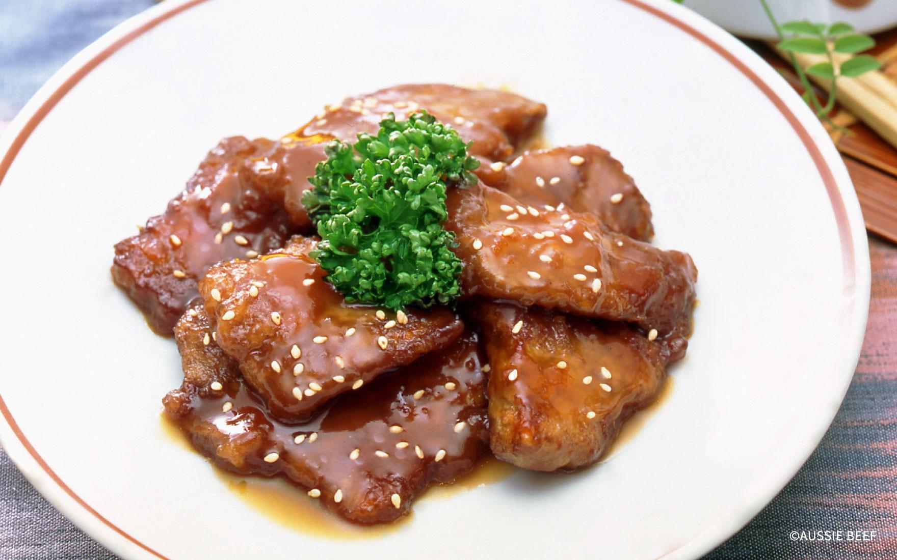 揚げ牛肉の甘酢煮