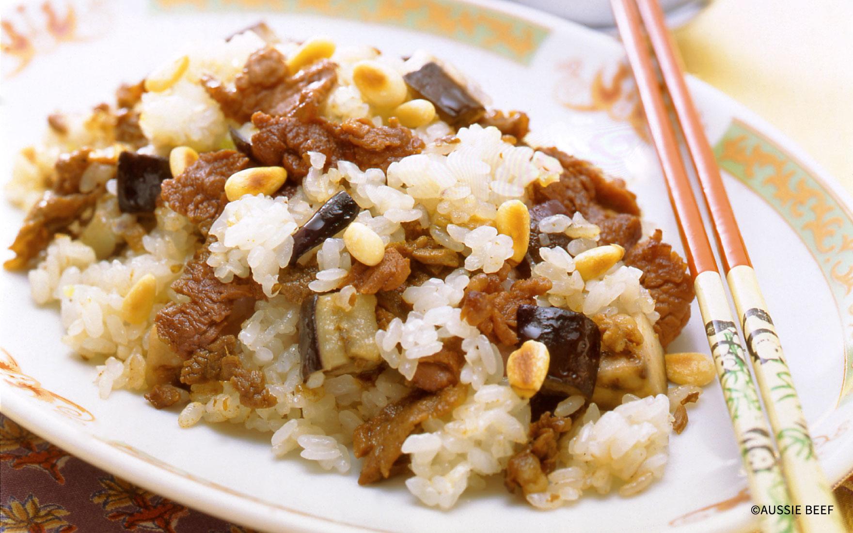 牛肉とナスの炒飯